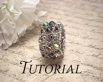 Tutorial PDF Right Angle Weave Swarovski Crystal Embellished Ring, Instant Download