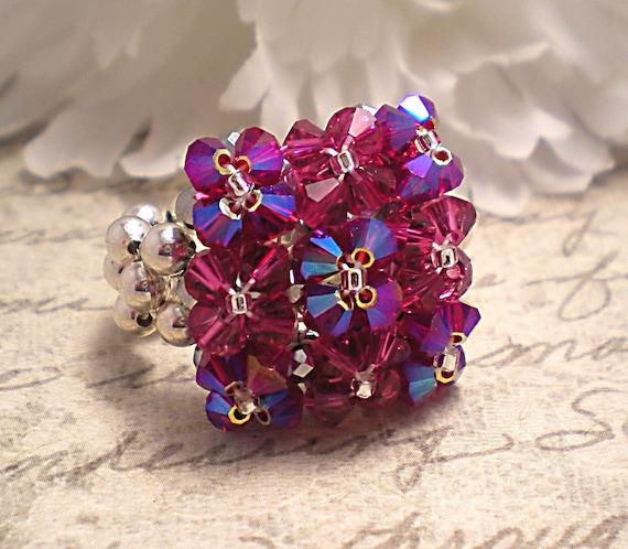 The Elizabeth- Pink Fuchsia Swarovski Crystal Embellished Pillow Top Cocktail Stretch Ring