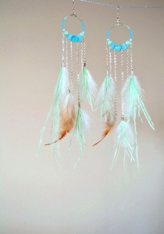 Feather and chain dangle earrings; pastel beads; white, mint  and natural feathers, dreamcatcher spring summer earrings; indian boho earring