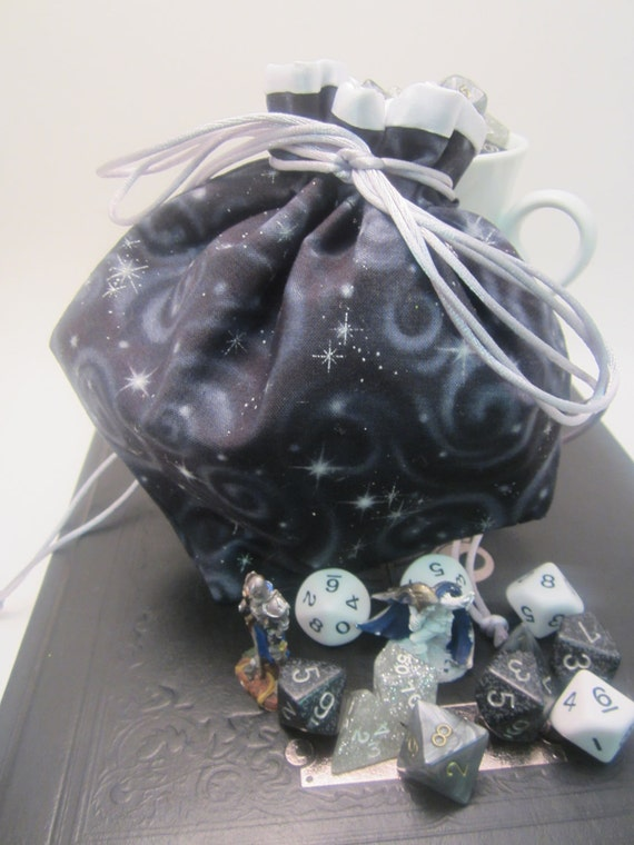 Small Black Starry Night Drawstring Bag, Gift Bag, Gaming Dice Bag, Dungeons and Dragons, Halloween Costume Accessory