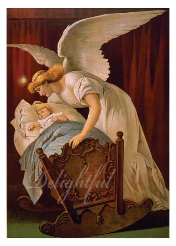 Guardian Angel Whispers To Baby In Cradle By Delightfultrifles
