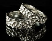 Crater Texture Wedding Rings in Sterling Silver, Set of 2 Rustic Wedding Bands, handmade in recycled sterling silver