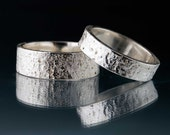 Wedding Rings with Rustic Concrete Texture , Set of 2 Wedding Bands, Unique Handmade Textured Wedding Rings, Sterling Silver