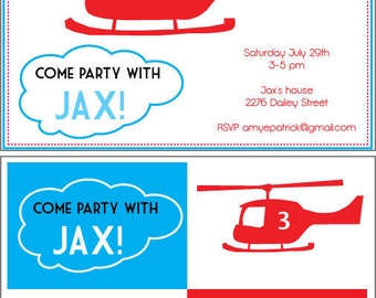 Printable Helicopter Invitations - Helicopter Party,INSTANT DOWNLOAD,helicopter boy party,boy party printable,helicopter cupcake toppers,
