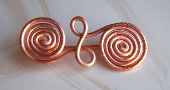 Handcrafted upcycled twisted copper wire celtic style brooch