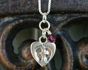 Infant Loss Necklace - Tiny Footprints on a Mother's Heart