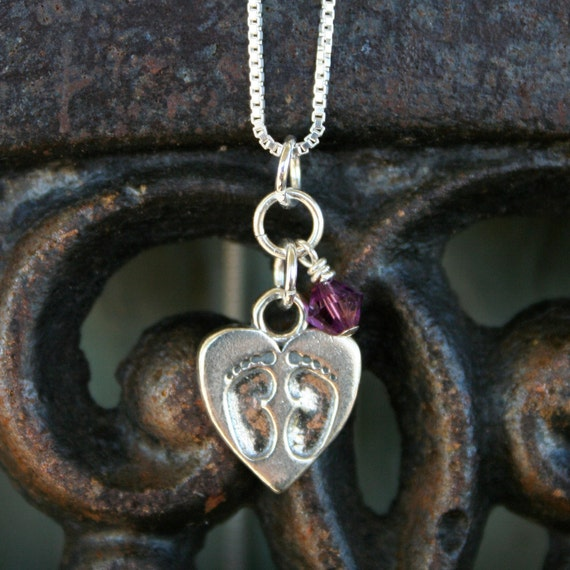 Baby Loss Necklace - Tiny Footprints on a Mother's Heart