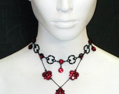 Black Metal Red SIam cluster Dangle Y Necklace 4225CH