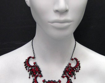 Pandora's Box - Red Swarovski Crystal black pearl metal Necklace 6672