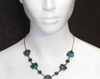 Antique Gold Indicolite Blue Necklace 4418N