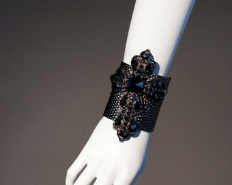 Black Medieval- styled Cross Cuff CWX