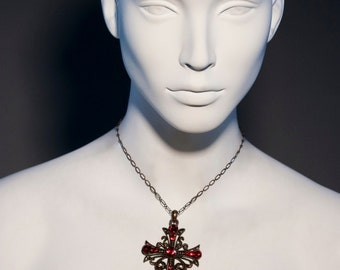 Guinevere - Red siam swarovski Crystal Antique copper Cross Necklace 6199XN