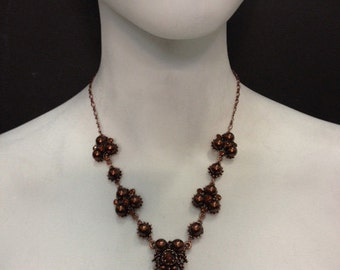 Pearls of Sandalwood -Smoked Topaz, brown pearl, antique copper Necklace 4418N