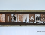 REGULAR SIZE: Personalized (scriptwed) Alphabet Art on Rustic Barnwood Block