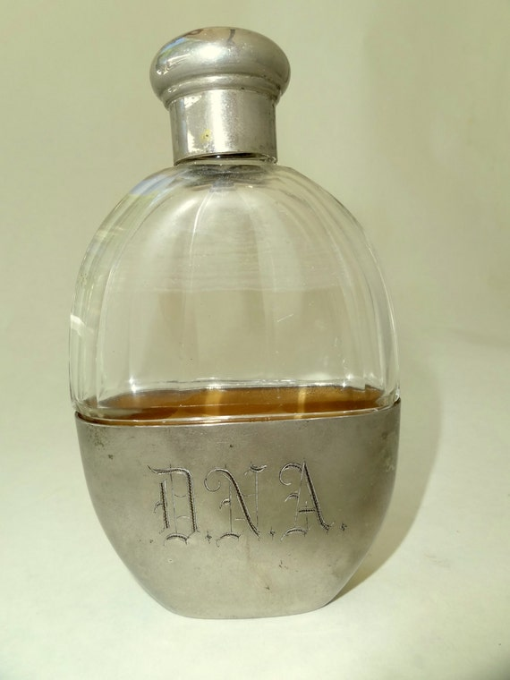 Glass and Silver Flask, Made in Germany Vintage