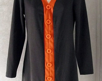 Vintage 90's Dress - Black and Orange Dress - Halloween Costume - 1990s- Long Sleeved Dress - GoGo Mod - City Triangles