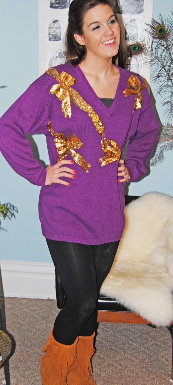 SALE! Vintage 80s Purple Sweater with Gold Sequin Bows // SALE!