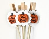 Halloween Decoration Jack-O-Lantern Party Decor Cupcake Toppers or Gift Favor Bag Clips - Set of 12 - Wish Clips
