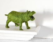 Safari Boy Nursery Decoration Hippopotamus in Jungle Green Glitter for Baby Shower Table Settings Birthday Party or Home Decor