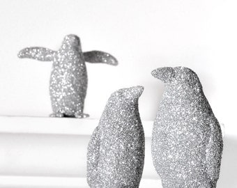 Silver Penguins. Set of 3. Winter Christmas Decoration Glitter for Holiday Entertaining Table Settings, Nursery Decor or Home Decoration
