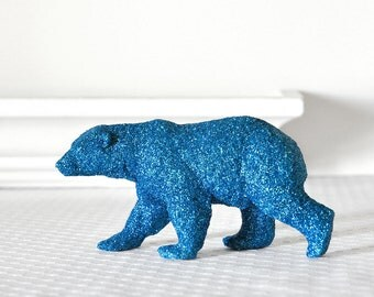 READY TO SHIP Polar Bear Wedding Sparkly Cake Topper or Baby Shower Decoration in Blue Glitter Tablescapes Bridal Shower Centerpiece