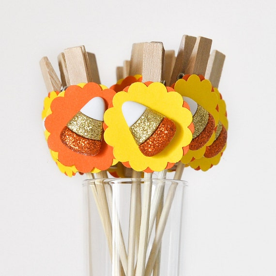 Candy Corn Gift Favor Bag Clips Party Decor or Halloween Cupcake Toppers - Set of 12 - Wish Clips
