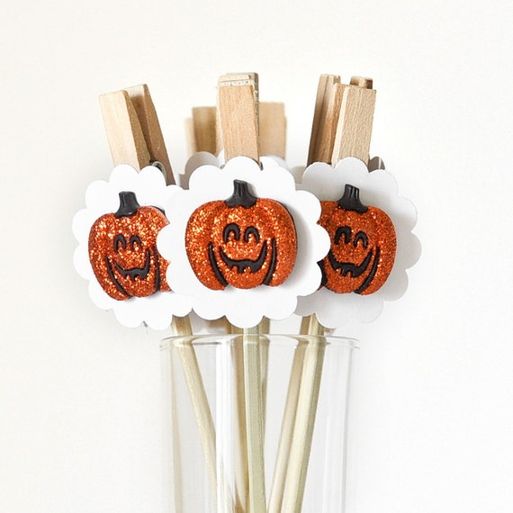 Halloween Cupcake Toppers Decoration Jack-O-Lantern Glitter Party Decoration or Gift Favor Bag Clips - Set of 12 - Wish Clips