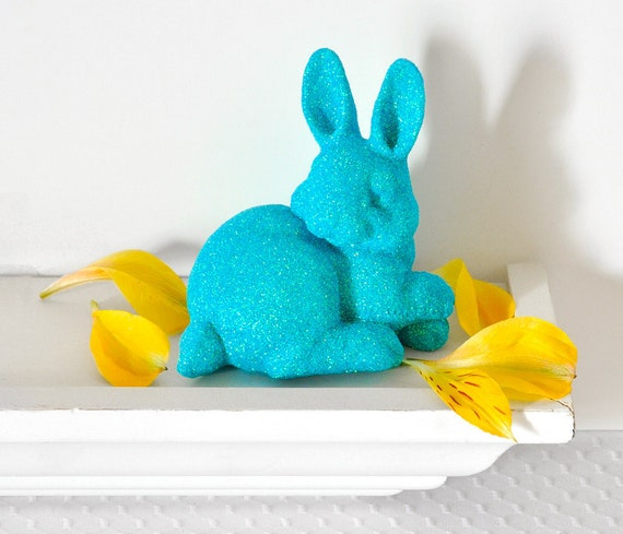 Glittery Bunny Rabbit in Aqua Blue for Boy Nursery Decor, Spring Baby Shower Table Settings, Birthday Party or Home Decorations