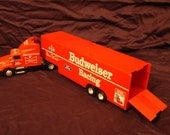 Budweiser Toy Semi Truck and Trailer / Racing Champions / 1/64 scale / Collectible
