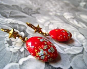 red drop earrings 1960s japan vintage jewellery