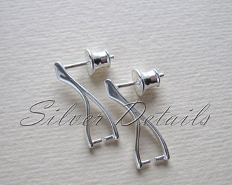 Elegant Sterling Silver Earstuds with Pinch Bail for Swarovski Crystals with Ear Nuts earring finding reference code E13S