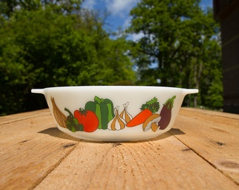Pyrex milkglass casserole with Kent vegetable print