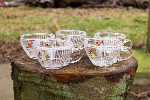 Hand painted glass punch cups with flowers - set of 5