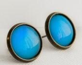 Blue Raspberry Post Earrings in Antique Bronze - Neon Blue Earrings