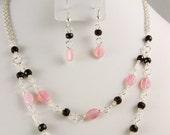 Beaded Pink Link Necklace & Earrings Set