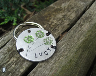 Personalized Flower Pet Id Tag - Lightweight - Aluminum - Aluminum Backer - micro chip pet