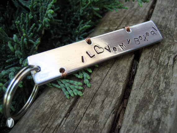Aluminum Hand Stamped Keychain - I love my Breed Keychain - You Choose the Breed - Wire Wrapped - Aluminum Backer