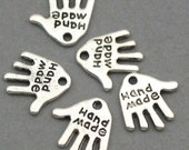 Hand Tag Charms 'Hand Made' Antique Silver 16pcs pendant beads 12X12mm CM0008S
