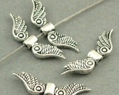 Angel Wings Beads Antique Silver 12pcs zinc alloy beads 7X23mm BD0013S