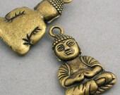 Sitting Buddha Charms Antique Bronze meditation charms 2pcs base metal pendant beads 23X39mm CM0261B