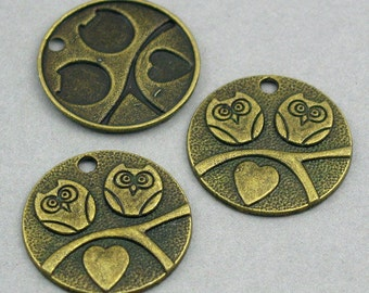 Owl Charms Lovebird Antique Bronze 6pcs pendant beads 25mm CM0102B