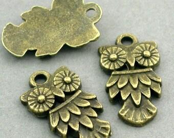 Owl Charms Antique Bronze 6pcs pendant beads 11X20mm CM0034B
