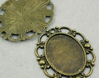 Oval Filigree Cameo Setting Antique Bronze 2pcs pendant beads 32X40mm CM0058B