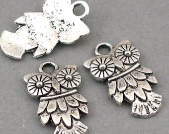 Owl Charms Antique Silver 6pcs pendant beads 11X20mm CM0034S