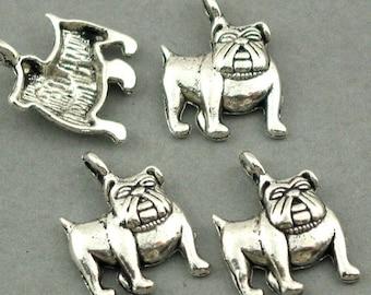Bull Dog Charms Antique Silver 6pcs pendant beads 13X18mm CM0185S