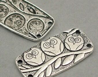 Owl Charms Antique Silver 4pcs pendant rectangle disc beads 20X37mm CM0106S