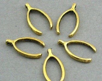 Wishbone Charms Antique Gold 12pcs pendant beads 9X16mm CM0158G
