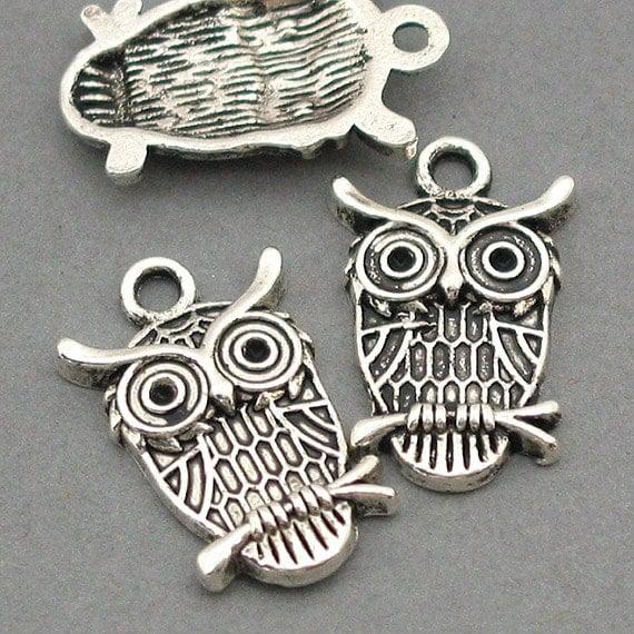 Owl Charms Antique Silver 6pcs pendant beads 14X23mm CM0024S CM0024B