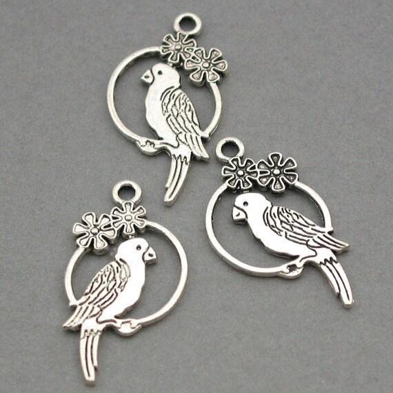 Parrot Bird Charms Antique Silver 6pcs pendant beads 15X28mm CM0006S
