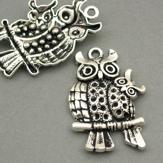 Mom and Baby Owl Charms Antique Silver 2pcs pendant beads 28X43mm CM0060S